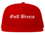 Gulf Breeze Florida FL Old English Mens Snapback Hat Red