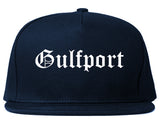 Gulfport Florida FL Old English Mens Snapback Hat Navy Blue