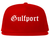 Gulfport Florida FL Old English Mens Snapback Hat Red