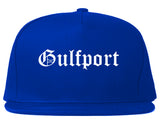 Gulfport Florida FL Old English Mens Snapback Hat Royal Blue