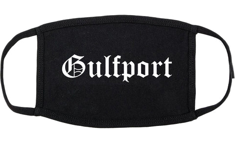 Gulfport Mississippi MS Old English Cotton Face Mask Black