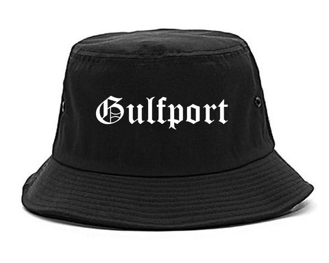 Gulfport Mississippi MS Old English Mens Bucket Hat Black