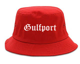 Gulfport Mississippi MS Old English Mens Bucket Hat Red