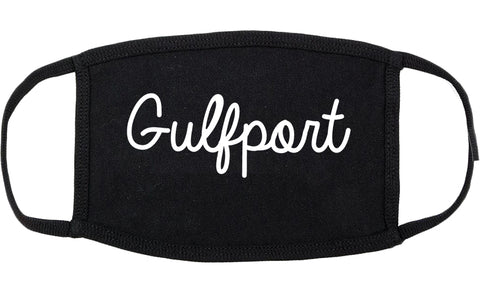 Gulfport Mississippi MS Script Cotton Face Mask Black