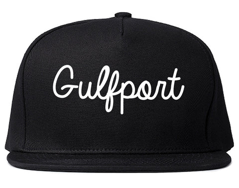 Gulfport Mississippi MS Script Mens Snapback Hat Black