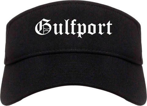 Gulfport Mississippi MS Old English Mens Visor Cap Hat Black