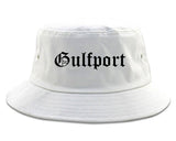 Gulfport Mississippi MS Old English Mens Bucket Hat White