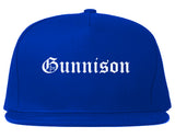 Gunnison Colorado CO Old English Mens Snapback Hat Royal Blue