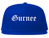 Gurnee Illinois IL Old English Mens Snapback Hat Royal Blue