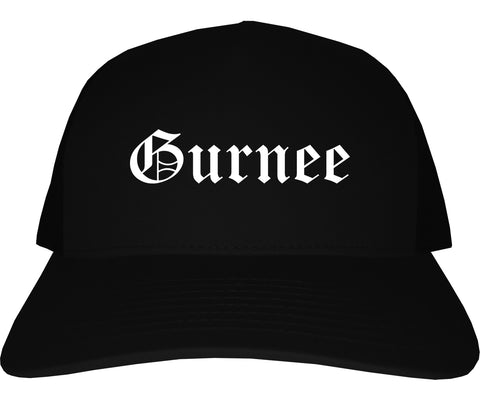 Gurnee Illinois IL Old English Mens Trucker Hat Cap Black