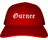 Gurnee Illinois IL Old English Mens Trucker Hat Cap Red