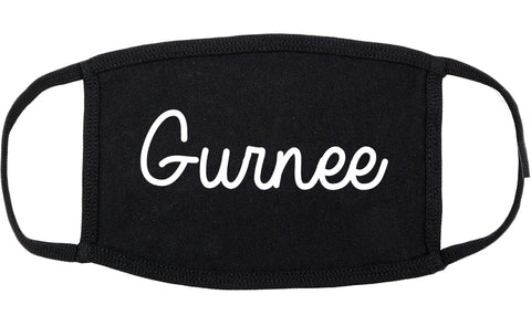 Gurnee Illinois IL Script Cotton Face Mask Black