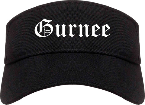 Gurnee Illinois IL Old English Mens Visor Cap Hat Black