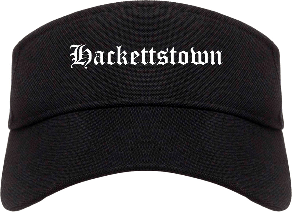 Hackettstown New Jersey NJ Old English Mens Visor Cap Hat Black
