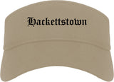 Hackettstown New Jersey NJ Old English Mens Visor Cap Hat Khaki