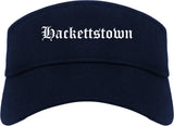 Hackettstown New Jersey NJ Old English Mens Visor Cap Hat Navy Blue
