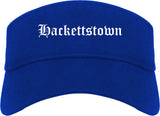 Hackettstown New Jersey NJ Old English Mens Visor Cap Hat Royal Blue