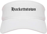 Hackettstown New Jersey NJ Old English Mens Visor Cap Hat White