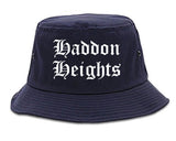 Haddon Heights New Jersey NJ Old English Mens Bucket Hat Navy Blue
