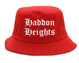 Haddon Heights New Jersey NJ Old English Mens Bucket Hat Red