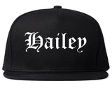 Hailey Idaho ID Old English Mens Snapback Hat Black
