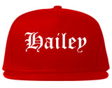 Hailey Idaho ID Old English Mens Snapback Hat Red