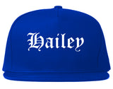 Hailey Idaho ID Old English Mens Snapback Hat Royal Blue