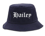 Hailey Idaho ID Old English Mens Bucket Hat Navy Blue