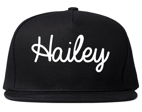 Hailey Idaho ID Script Mens Snapback Hat Black