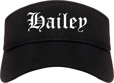 Hailey Idaho ID Old English Mens Visor Cap Hat Black