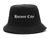 Haines City Florida FL Old English Mens Bucket Hat Black