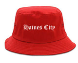 Haines City Florida FL Old English Mens Bucket Hat Red