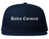 Hales Corners Wisconsin WI Old English Mens Snapback Hat Navy Blue
