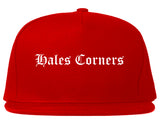 Hales Corners Wisconsin WI Old English Mens Snapback Hat Red
