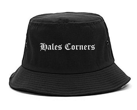 Hales Corners Wisconsin WI Old English Mens Bucket Hat Black