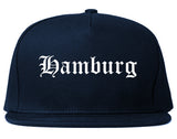 Hamburg New York NY Old English Mens Snapback Hat Navy Blue