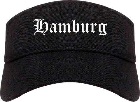 Hamburg New York NY Old English Mens Visor Cap Hat Black