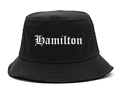 Hamilton Ohio OH Old English Mens Bucket Hat Black