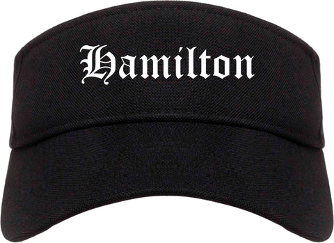 Hamilton Ohio OH Old English Mens Visor Cap Hat Black