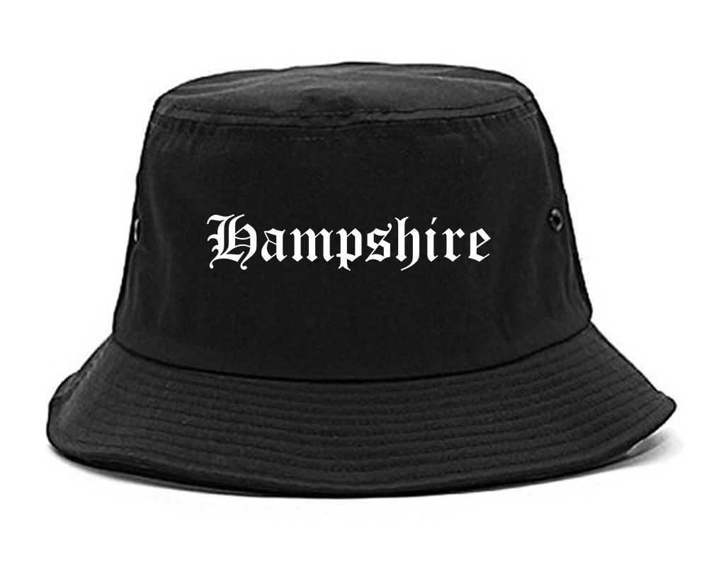 Hampshire Illinois IL Old English Mens Bucket Hat Black