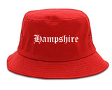 Hampshire Illinois IL Old English Mens Bucket Hat Red