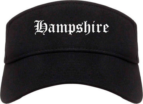 Hampshire Illinois IL Old English Mens Visor Cap Hat Black