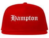 Hampton Georgia GA Old English Mens Snapback Hat Red