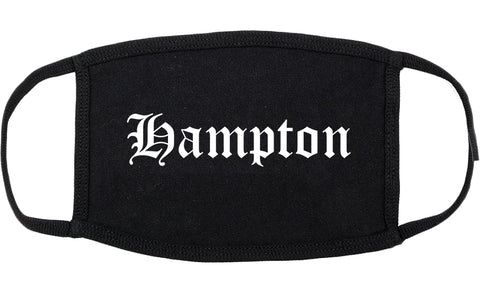 Hampton Virginia VA Old English Cotton Face Mask Black