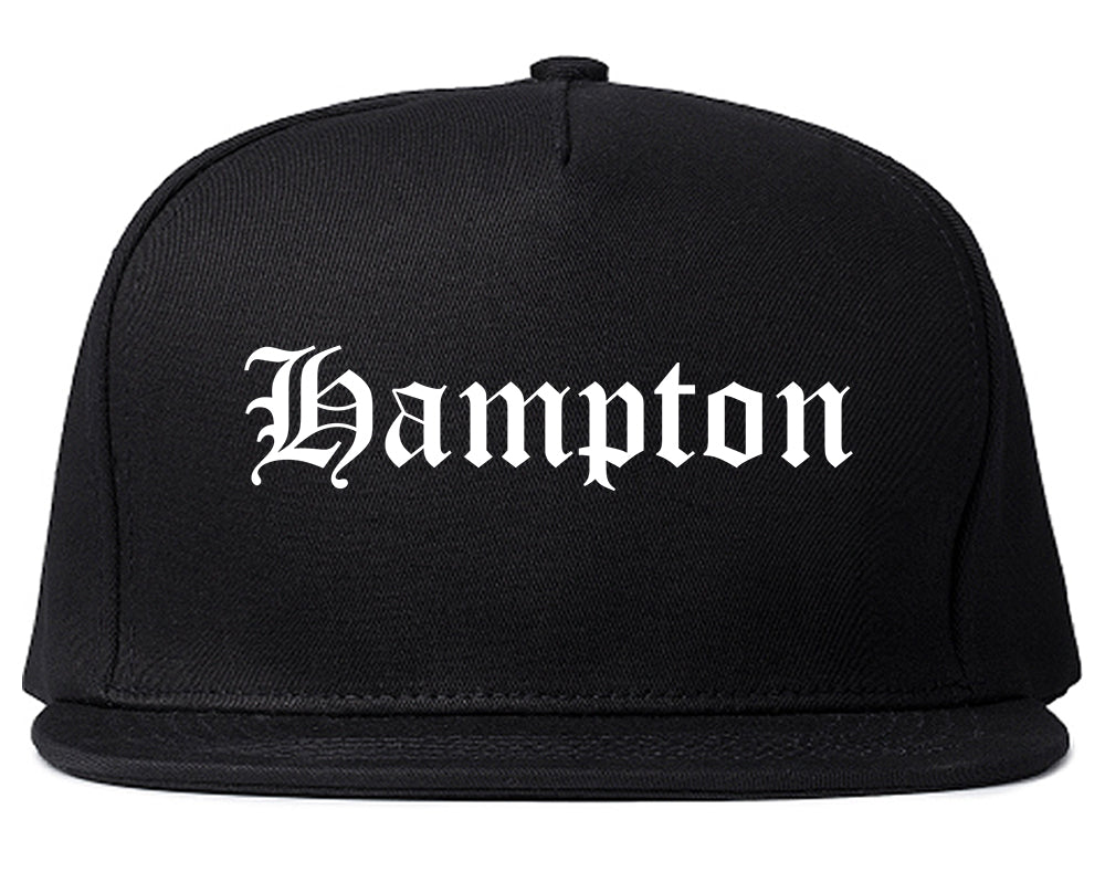 Hampton Virginia VA Old English Mens Snapback Hat Black