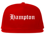 Hampton Virginia VA Old English Mens Snapback Hat Red
