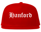 Hanford California CA Old English Mens Snapback Hat Red