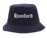 Hanford California CA Old English Mens Bucket Hat Navy Blue