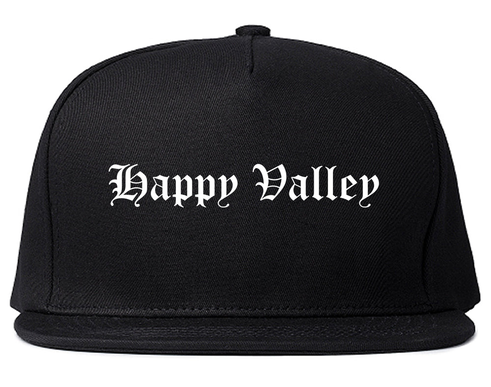 Happy Valley Oregon OR Old English Mens Snapback Hat Black