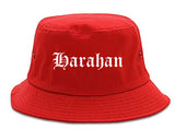 Harahan Louisiana LA Old English Mens Bucket Hat Red